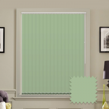 Light Green Made to measure vertical blinds in Carnival Lily plain FR / Antibacterial fabric
